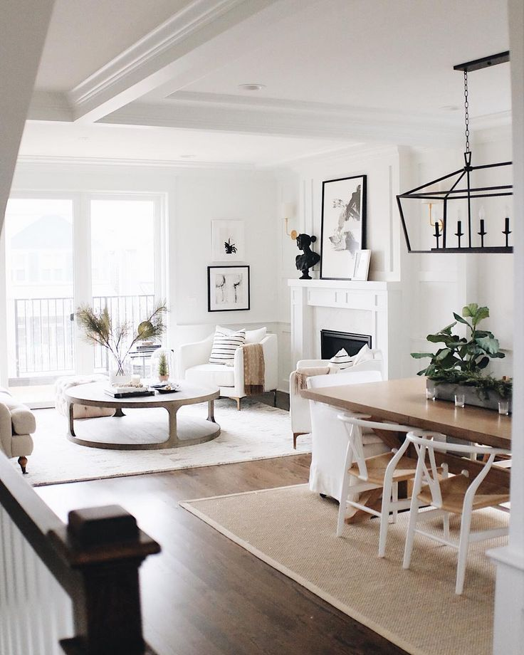 Decorating Ideas For Living Room With White Walls: White Wishbone Chairs, Wood Dining Table, White Walls