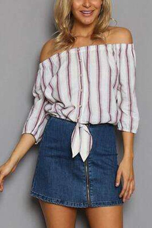 Pay your attention to this top! It features off shoulder, stripe pattern and 3/4 length sleeves. Pair it with white jeans and platform shoes for your date.