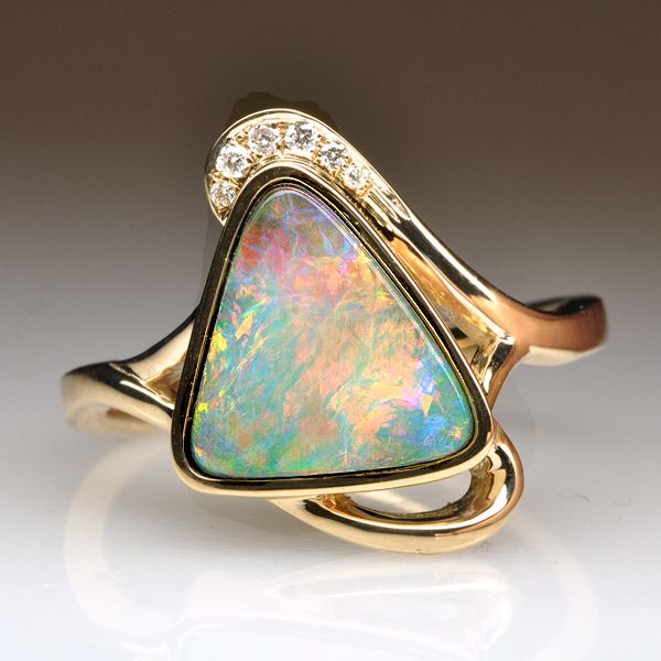 Natural Solid Boulder Opal 14k Yellow Gold Triangle Shape Ring