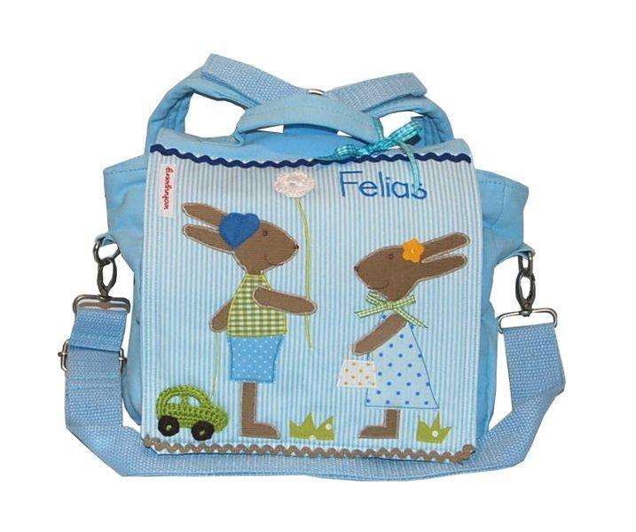 Rucksäcke - Kindergartenrucksack mit Namen-Grosse Hasenfreunde - ein Designerstück von wohnzwerg bei DaWanda