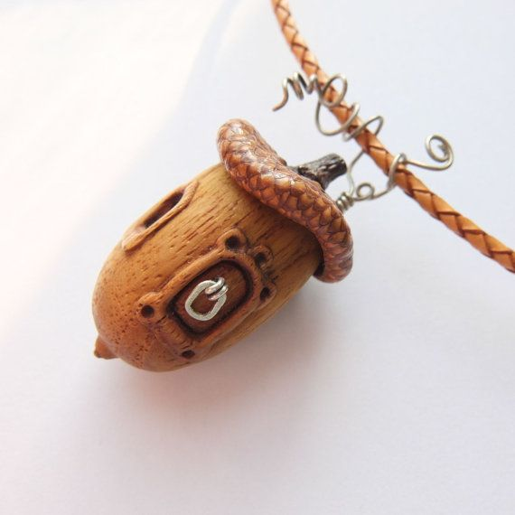 Fairy house. Pendant with acorn hat. Wooden от WoollyWoodJewelry