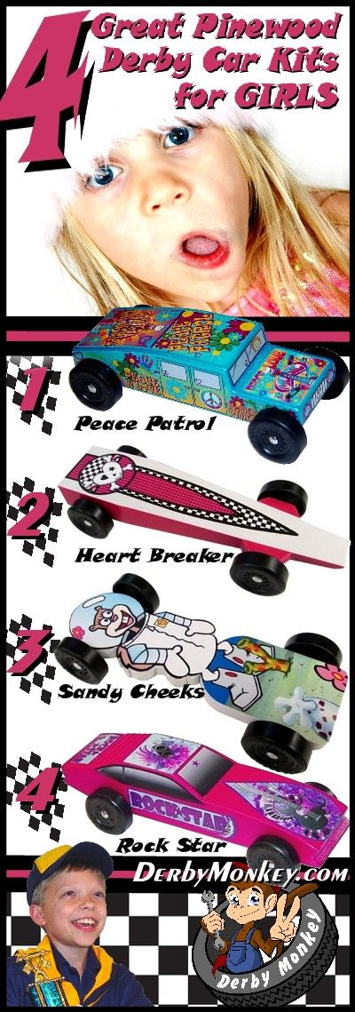 Pinewood Derby Car Kits for Girls at www.DerbyMonkey.com