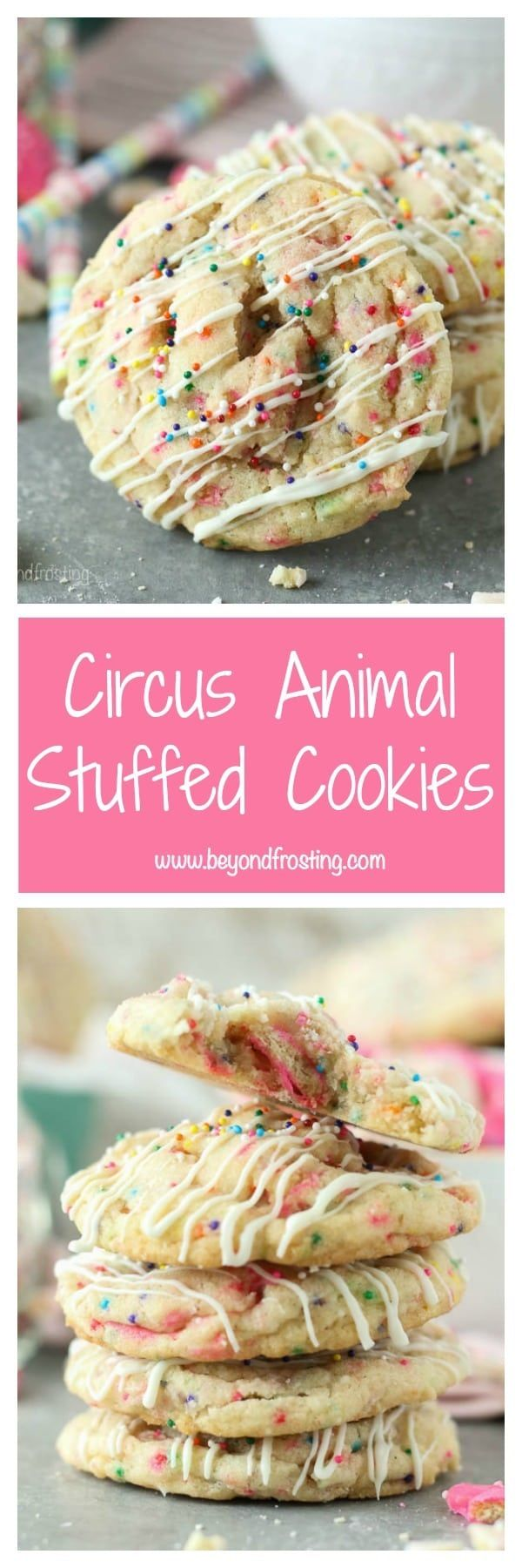 These Circus Animal Stuffed Cookies are the soft and chewy and filled with frosted circus animal cookies, with a drizzle of white chocolate and sprinkles on top.