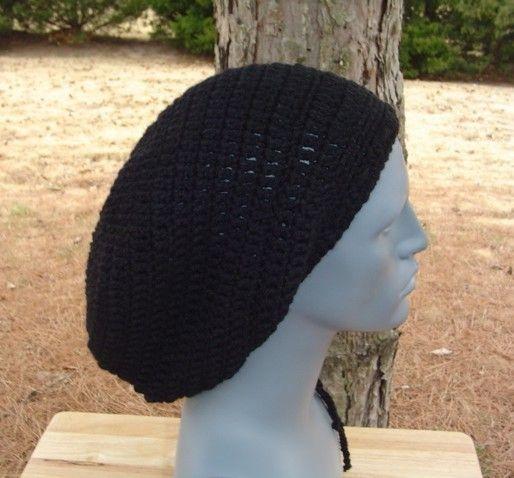 New to PurpleSageDesignz on Etsy: Men Women Slouchy Beanie longer black Dread Tam Dreadlock Hippie Beanie Hat (20.00 USD)