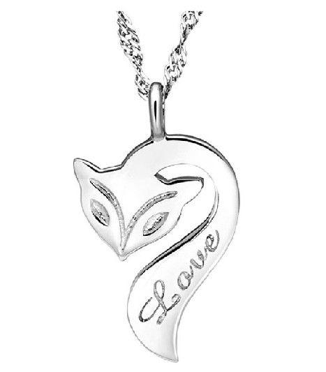 18 k белое золото покрытие женщины / мужчины ювелирные изделия скрученный цепочки ожерелье милый лиса кулон с влюбленность узор N1033