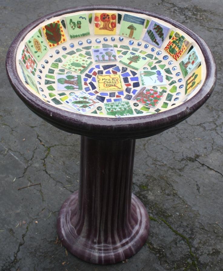 class project - mosaic inset birdbath