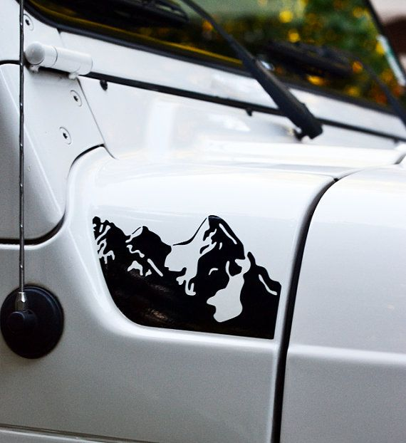 Jeep Wrangler Jk >> Jeep Wrangler TJ Hood Mountains Decal 2pc Set | Hoods, Design and In color
