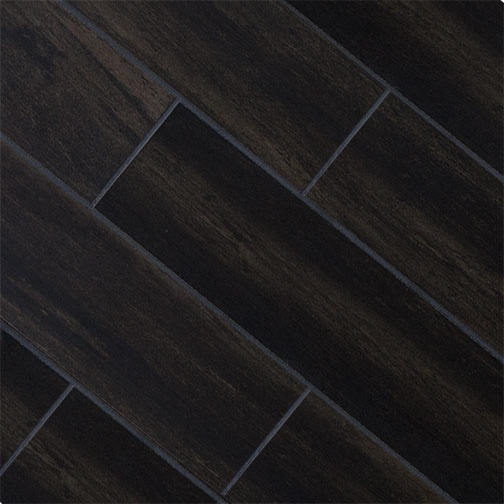 Dark Wood Tile Bathroom: Black Oak 5x32 Wood Plank Porcelain