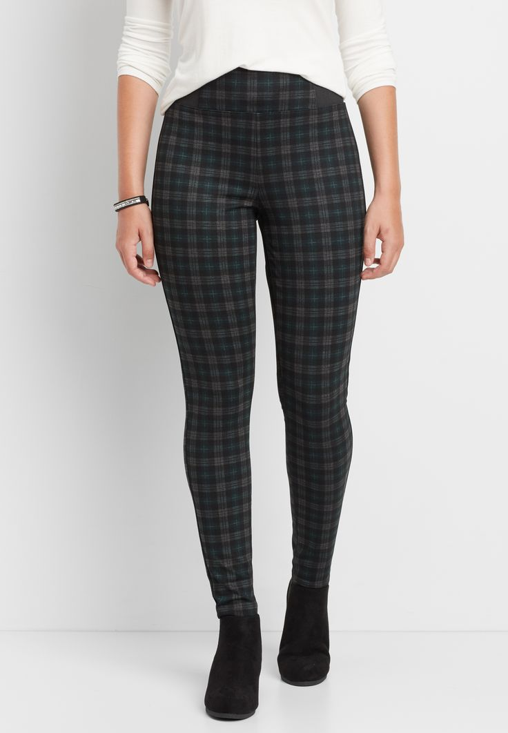 the high rise plaid ponte skinny ankle pant  (original price, $39.00) available at #Maurices