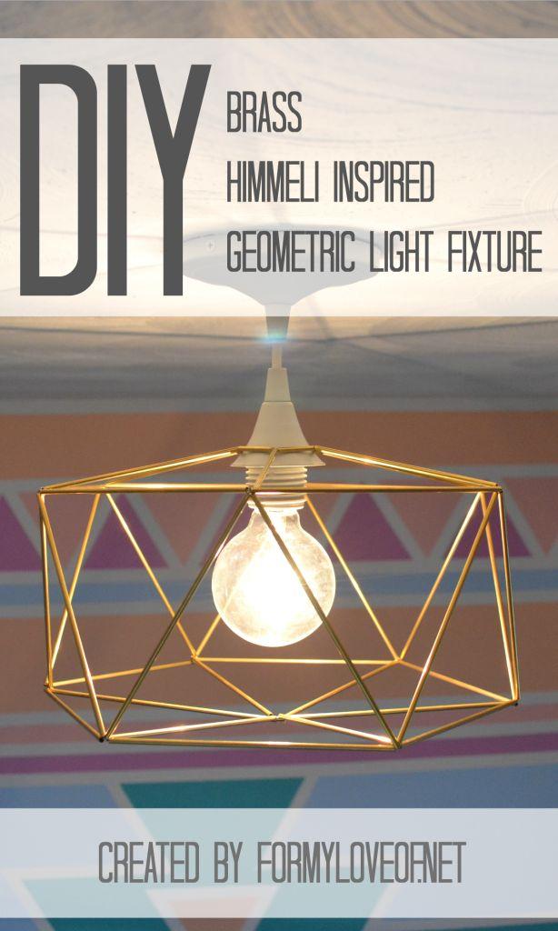 Pin It! DIY Brass Himmeli Inspired Geometric Light Fixture by @Debbie Arruda Arruda Arruda Fortner My Love Of for TatertotsandJello