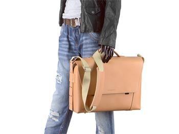 Aktentasche Leder Damen Herren Umhängetasche modern 2 Fächer natur braun Tasche Schultertasche Lehrertasche Businesstasche