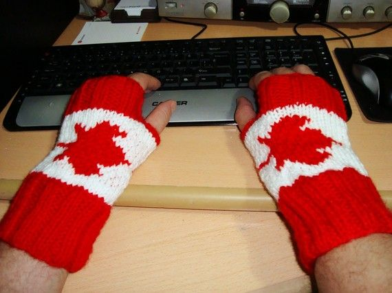Canadian Flag Hand Knit Mens Fingerless GlovesRed by earflaphats, $40.00