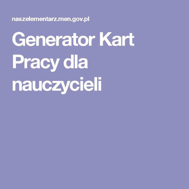Generator Kart Pracy dla nauczycieli