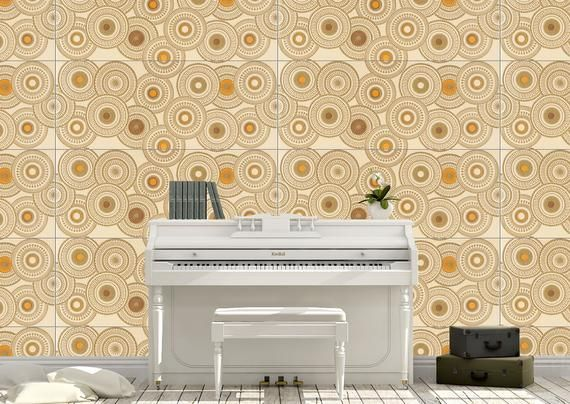 Easy Peel And Stick Wallpaper Art Deco Geometric Tile Wallpaper Inspired By Mid Century Modern Tile Classic Wallpaper Decal Wall Art Peel And Stick Wallpaper