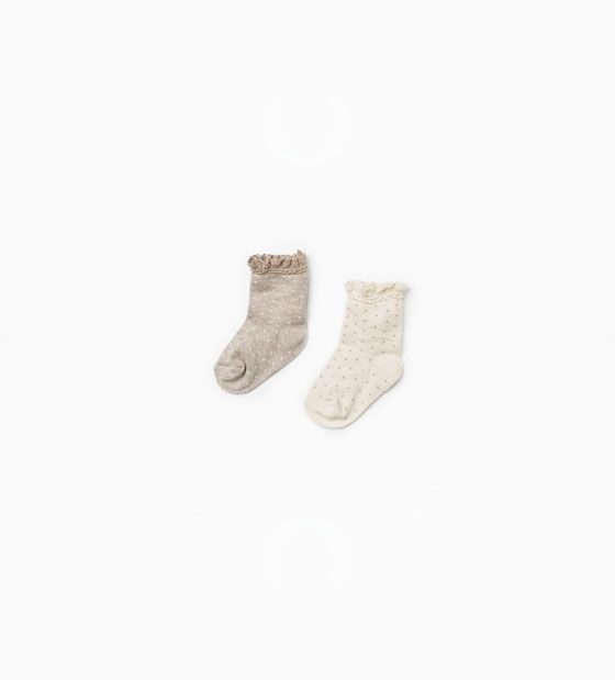 Lace trim polka dot socks (pack of two pairs)