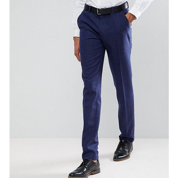 ASOS TALL Wedding Skinny Suit Trousers in Navy Wool Mix ($66) ❤ liked on Polyvore featuring men's fashion, men's clothing, men's pants, men's dress pants, navy, mens skinny pants, mens navy dress pants, mens super skinny dress pants, mens skinny suit pants and asos mens pants