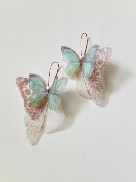 Schmetterlinge alle über Organza Ohrringe blaugrün und von jewelera