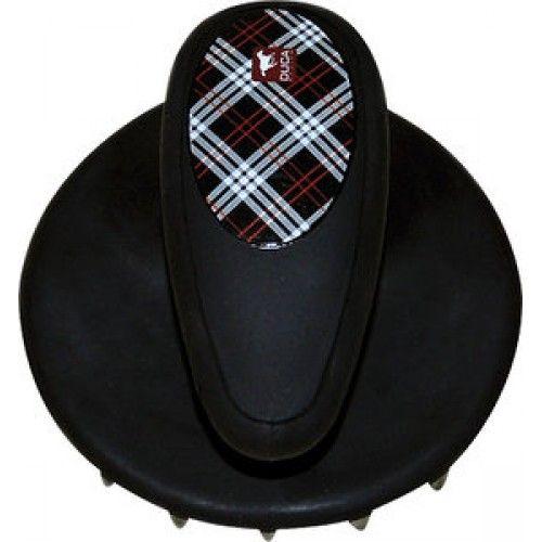 Ronde rubberen designerroskam van Duca . Uit de modellenreeks Kuore met een ergonomisch handvat en grote noppen.
