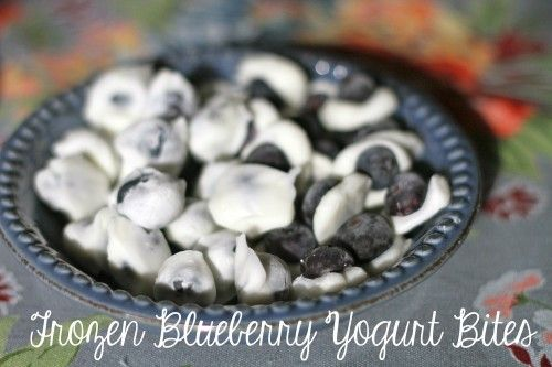 Frozen yogurt blueberry bites and other quick, healthy snacks.