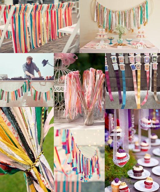 ribbon streamer wedding decorations mood board