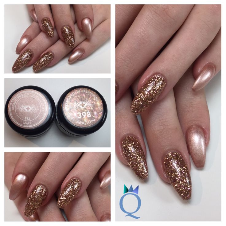 Beide Farben von @akyado #ballerinashape #gelnails #nails #rosegold #glitter #akyado # #ballerina #form #gelnägel #nägel #roségold #glitzer #nagelstudio #möhlin #nailqueen_janine
