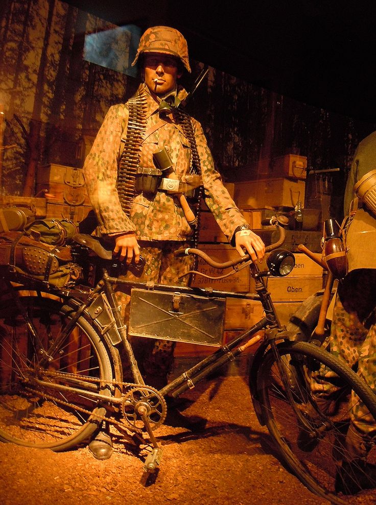 German soldier with an bicycle, museum Ardennes 1944 ...