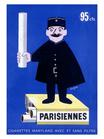 Raymond Savignac 1907-2002, affichiste français Cigarettes parisiennes