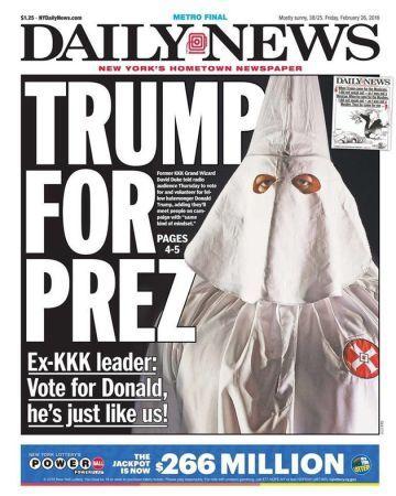 | 29.02.2016 | Não existe dia tranquilo nos domínios de Trump. Desta vez, a manchete de jornal associa o nome de Donald Trump a um dos grupos e episódios mais obscuros da história dos Estados Unidos. Na manhã deste domingo, o magnata se recusou a rejeitar o apoio de um conhecido supremacista branco e antigo líder da Ku Klux Klan (KKK), David Duke, às eleições dos EUA.