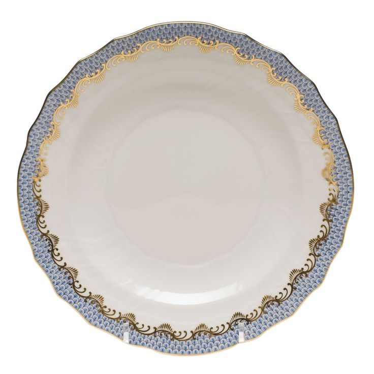 herend fish scale salad plate light blue - Google Search