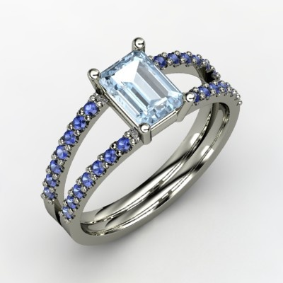The Samantha Ring #customizable #jewelry #aquamarine #sapphire #gold #ring