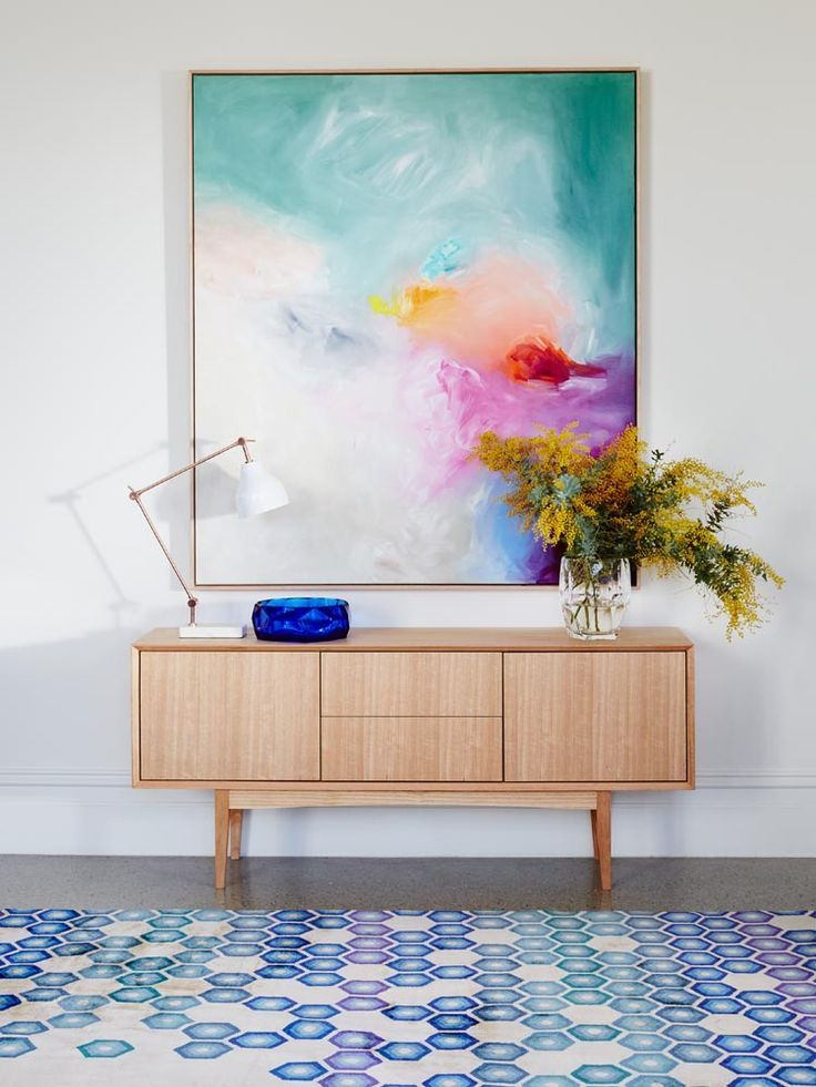 Beautiful Large Scale Australian Art Styled Perfectly With A Big Bunch Of Wattle That Geometric