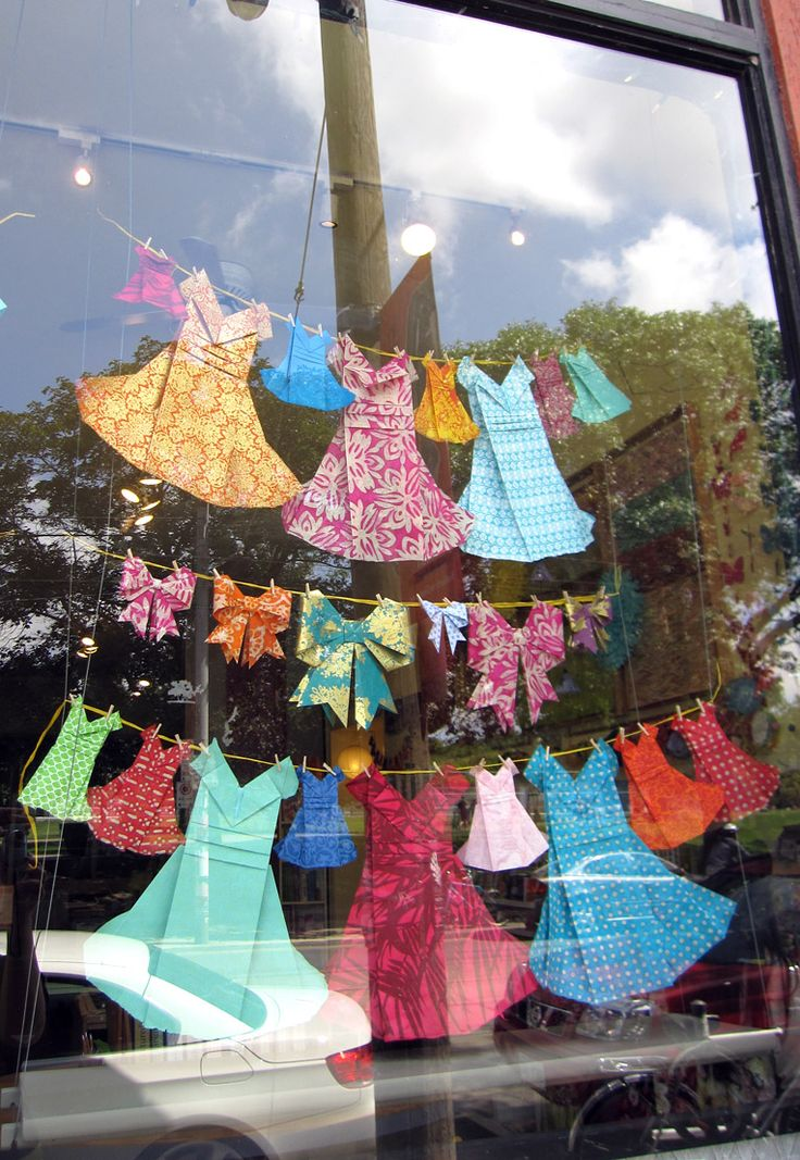 Origami dresses and ribbon