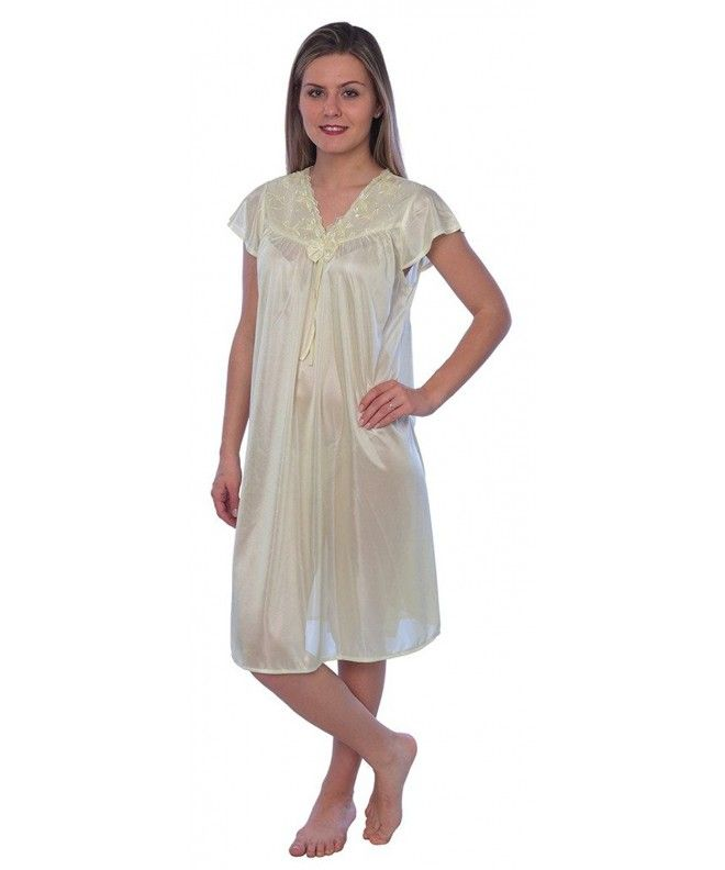 61359c8715dd Women s Silky Tricot Shiny Short Sleeve Long Nightgown - Yellow -  CQ183K95XO0
