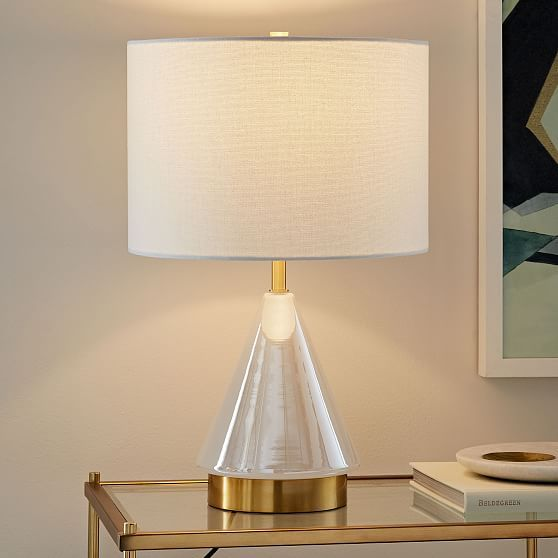 Metalized Glass Table Lamp Usb Small Pearl Products Table