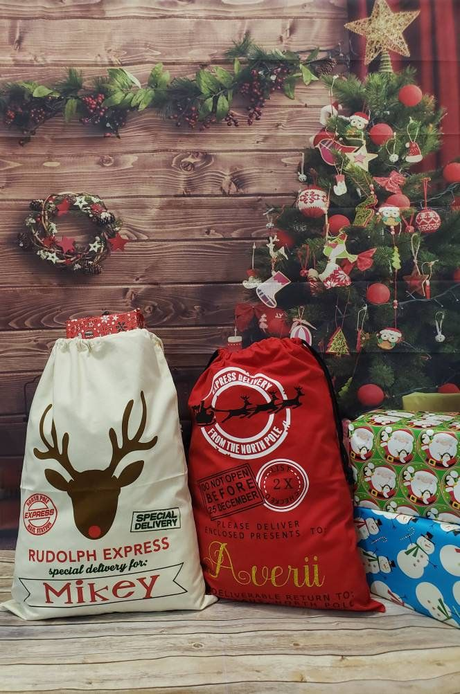 Personalized Christmas Sack From Santa Sack Christmas Gift Etsy In 2020 Personalised Christmas Sack Christmas Gift Bags Christmas Bags