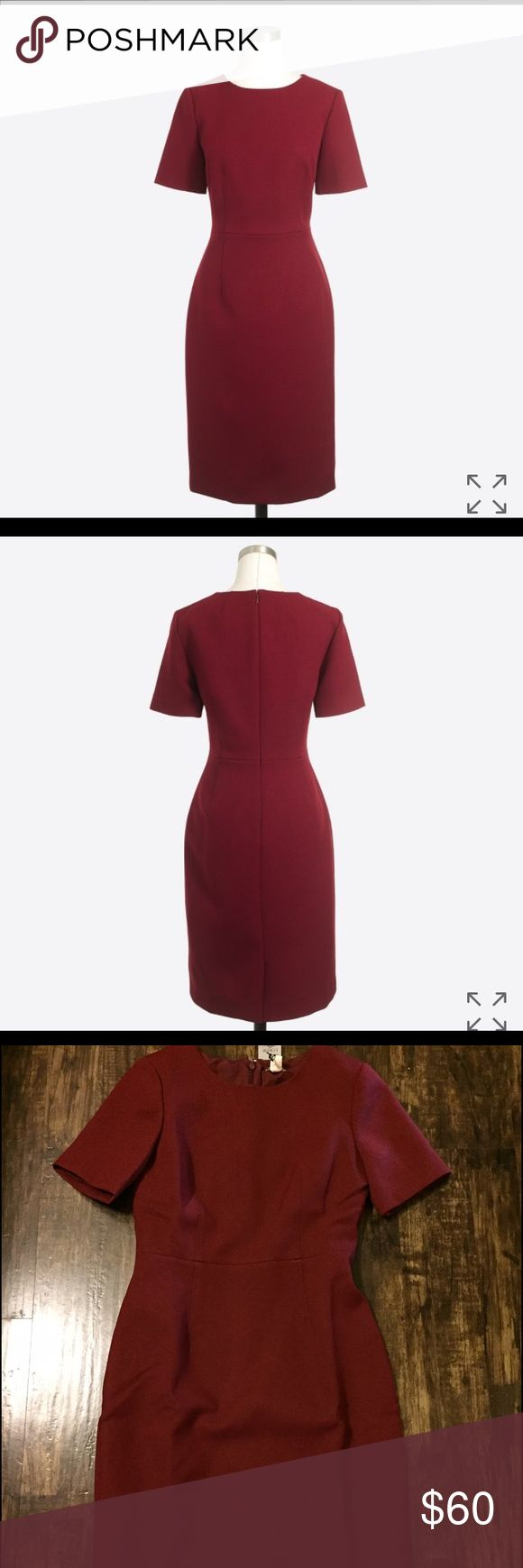J. Crew Petite Short-Sleeve Dress Brand new w/ tags. The dress is burgundy colored. Great dress for in the office, for a presentation, or anything that requires dressing nice 😉 J. Crew Dresses Midi