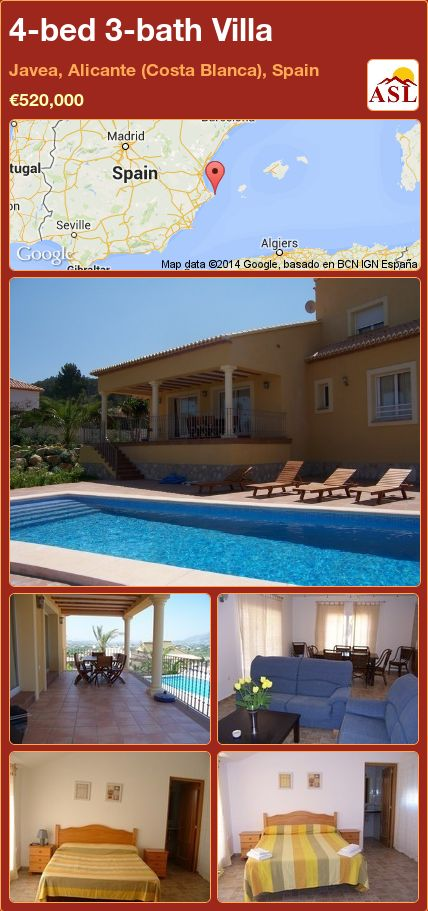 4-bed 3-bath Villa in Javea, Alicante (Costa Blanca), Spain