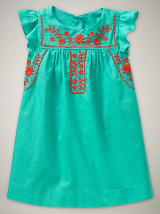Teal Mexican style baby girl / little girls dress with red embroidery