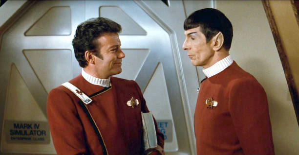 From left William Shatner as Admiral James T Kirk and Leonard Nimoy as Captain Spock in the movie 'Star Trek II The Wrath of Khan' Release date June...