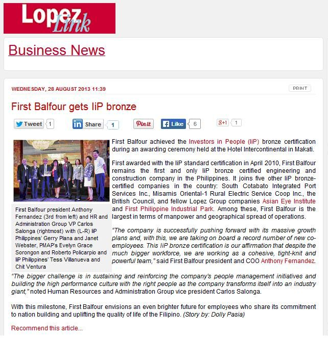 First Balfour in the Philippines achieves Bronze IIP accreditation