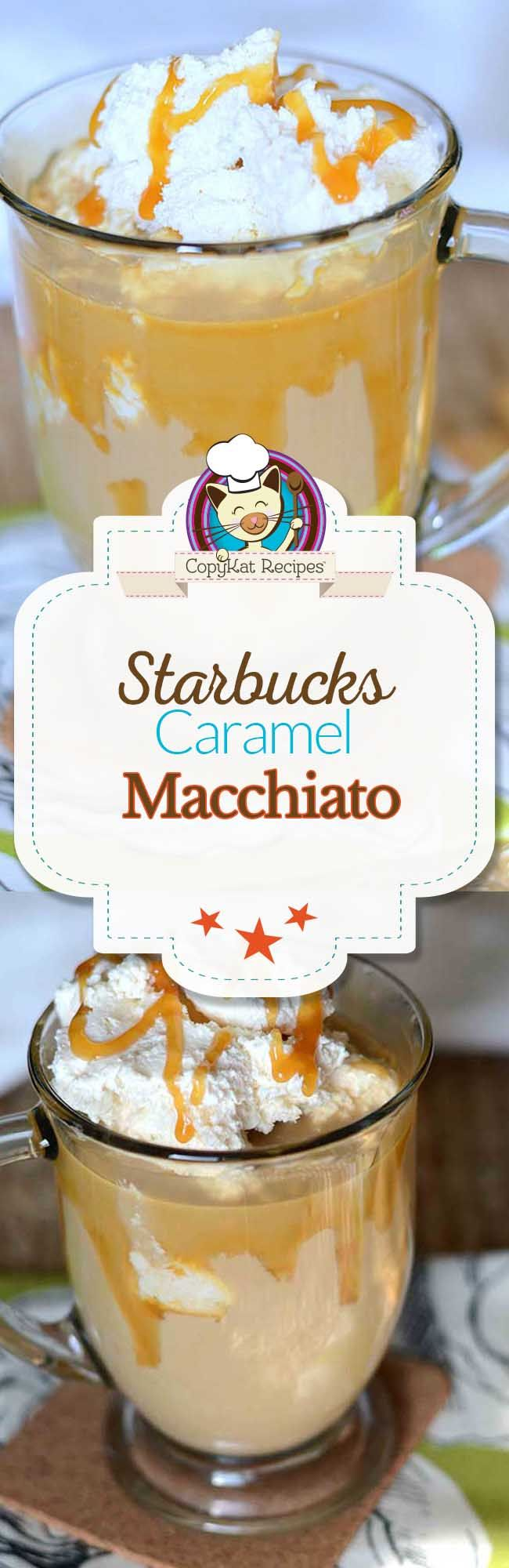 Enjoy a Starbucks Caramel Macchiato copycat style. Coffee, milk, caramel syrup, and ice make up this wonderful coffee beverage that you will love.