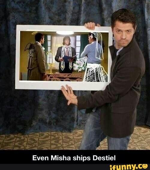 Pssshhh...Misha is the biggest Destiel shipper of all...except maybe Jared.  samwinchester, deanwinchester, supernatural, mishacollins, destiel