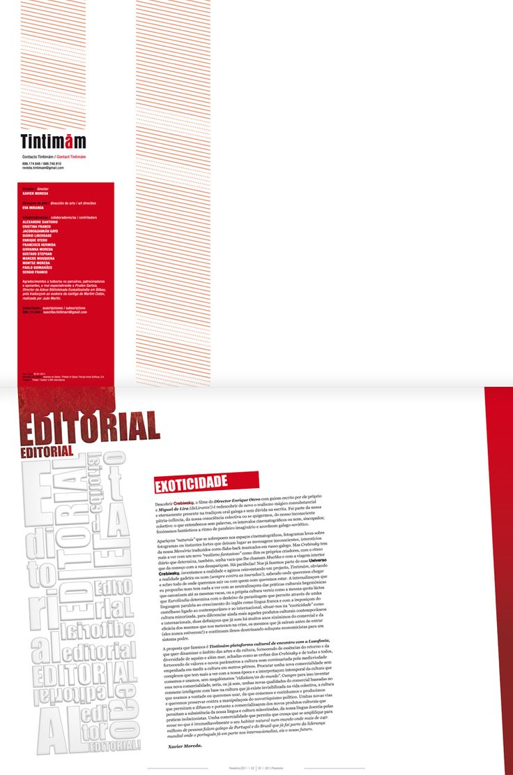 Revista Tintimám 01, Miranda estudio Vigo, Diseño de revistas, diseño editorial, diseño de catálogos, folletos