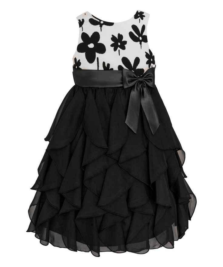 Another great find on #zulily! Black & White Floral Ruffle Tier Dress - Toddler & Girls by American Princess #zulilyfinds