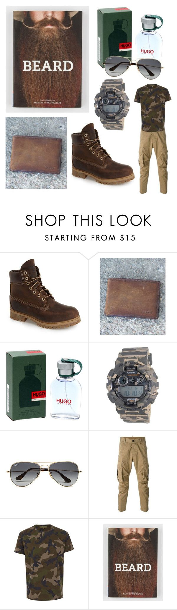 """Man."" by klaunela on Polyvore featuring Timberland, FOSSIL, HUGO, Casio, Ray-Ban, Dsquared2, Valentino, men's fashion and menswear"