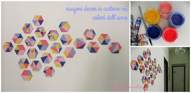 Oggi mi sento creativa: Una parete di esagoni decor nei colori dell'anno - riciclo creativo del cartone