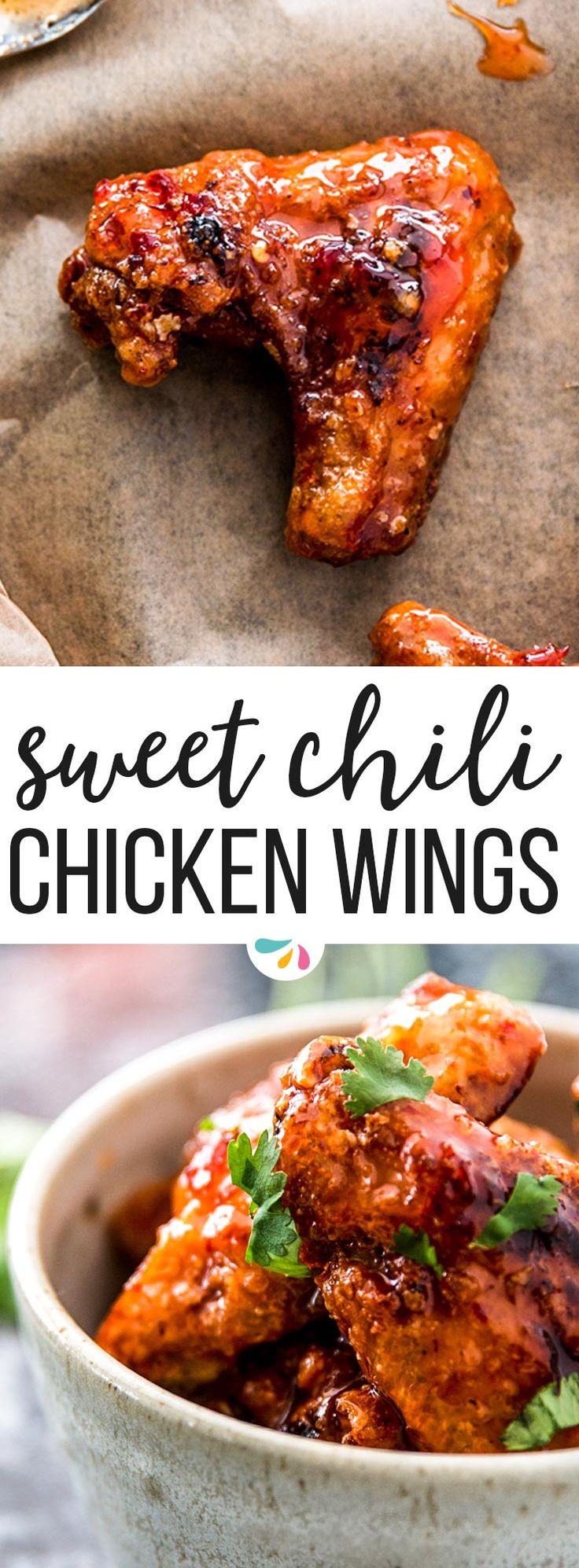 Sticky Sweet Chili Chicken Wings are easy, crispy fried wings with the best sticky glaze! This recipe is perfect for game day, super bowl parties or for any special dinner you might have coming up! These are the best - and you can customize them to make them as hot and spicy as you like. | #recipes #chicken #chickenrecipes #gameday #gamedayfood #football #footballfood #partyfood #easyrecipe