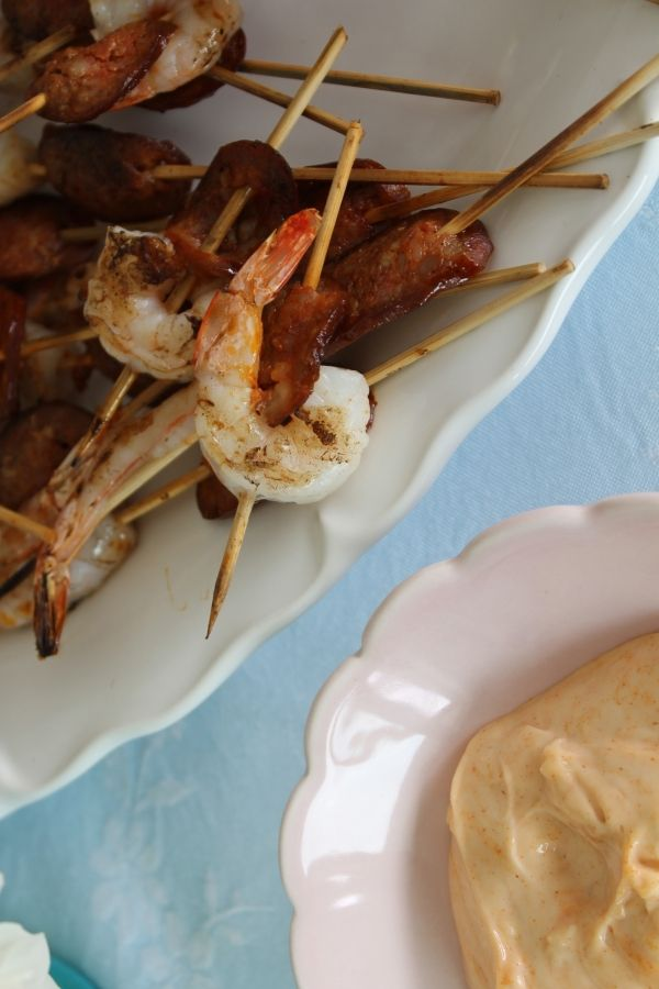 Our lazy summer lunch menu with recipes from #afreerangelife @Annabel Langbein  Prawn and chorizo skewers with smoked paprika aioli