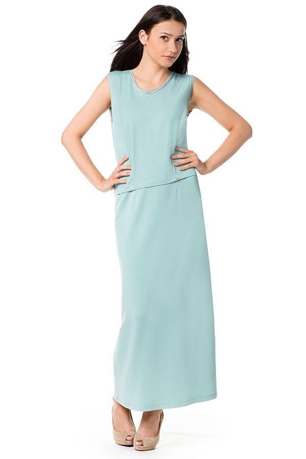 Miętowa sukienka maxi z dzianiny. Knitwear minty maxi dress.