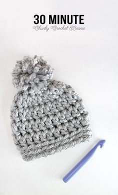 Easy Chunky Crochet Beanie - a 30 minute hat! Free pattern from Persia Lou                                                                                                                                                                                 More